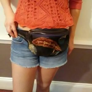 Handbags - Vintage feather & leather tapestry fanny pack